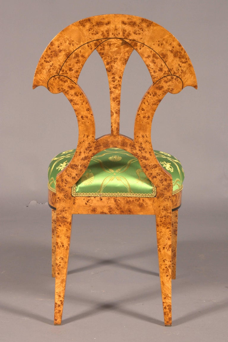 20th Century Chair in the Old Biedermeier Style Maple Root Veneer on Beechwood For Sale 6