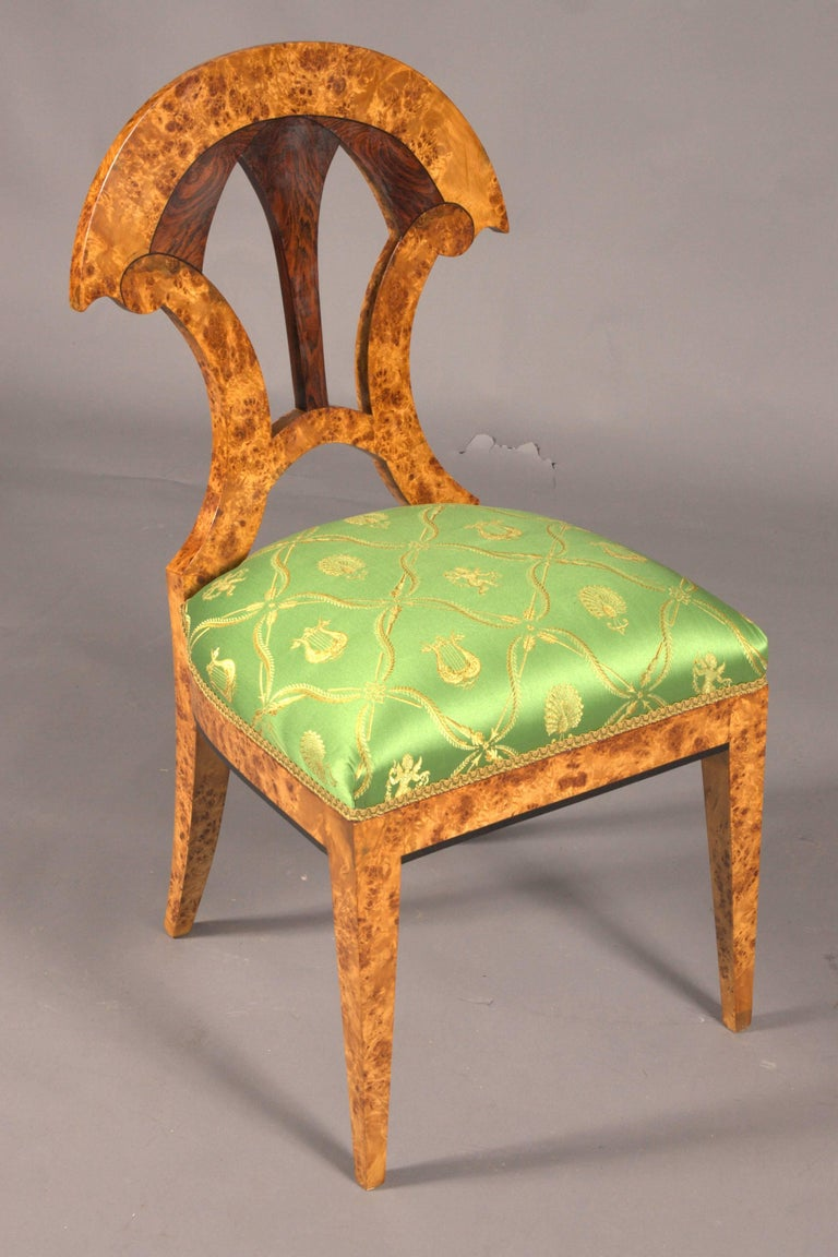 German 20th Century Chair in the Old Biedermeier Style Maple Root Veneer on Beechwood For Sale
