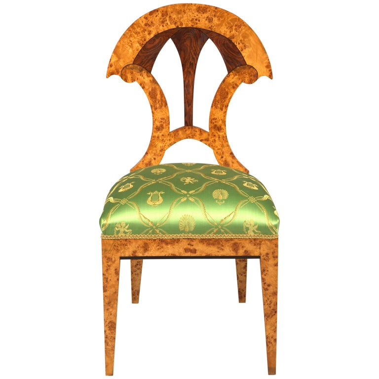 20th Century Chair in the Old Biedermeier Style Maple Root Veneer on Beechwood For Sale
