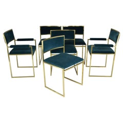 20th Century Chairs and Armchairs by Willy Rizzo, Set of 6, 1970s