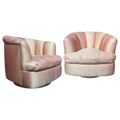 20th Century Channel Back Swivel Chairs in the Style of Milo Baughman, Pair