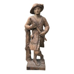 20th Century Chapman Carved Wooden Figure of a Shepherd