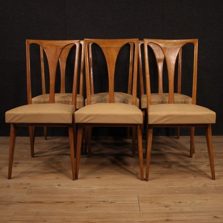 20th Century Cherrywood and Faux Leather Italian 6 Chairs, 1960 In Fair Condition In Vicoforte, Piedmont