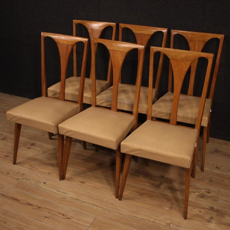 20th Century Cherrywood and Faux Leather Italian 6 Chairs, 1960 1