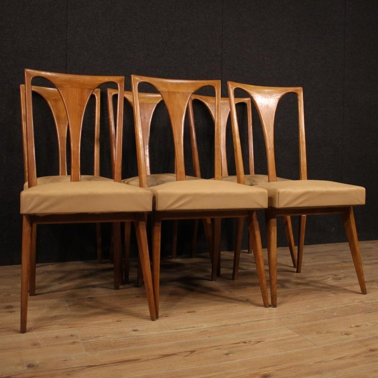 20th Century Cherrywood and Faux Leather Italian 6 Chairs, 1960 2