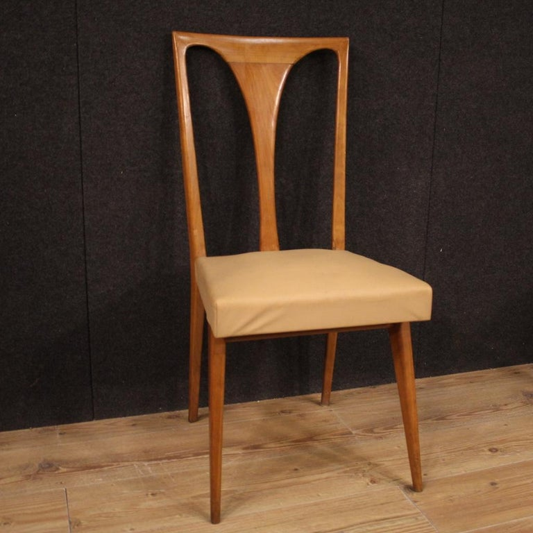 20th Century Cherrywood and Faux Leather Italian 6 Chairs, 1960 3