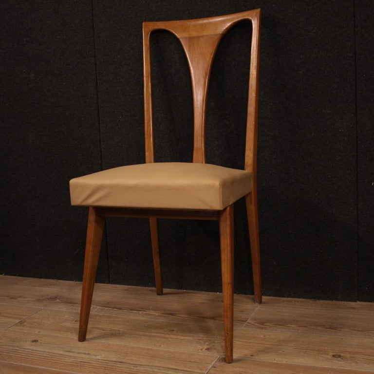 20th Century Cherrywood and Faux Leather Italian 6 Chairs, 1960 4