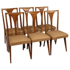 20th Century Cherrywood and Faux Leather Italian 6 Chairs, 1960