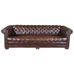 20th Century Chesterfield Brown Leather Tufted Nailhead Sofa Couch by Classic