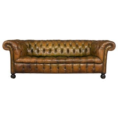 20th Century Chesterfield Leather Sofa with Button Down Seat, circa 1920
