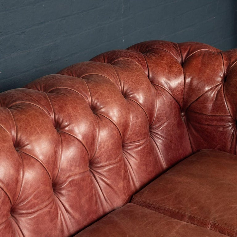 20th Century Chesterfield Leather Sofa With Button Down Seat For Sale 6