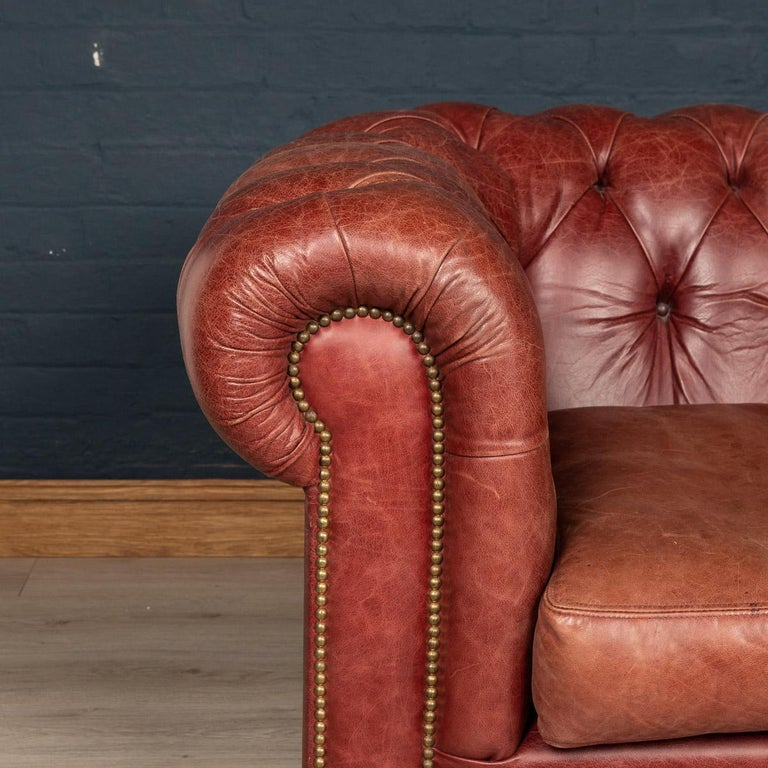 20th Century Chesterfield Leather Sofa With Button Down Seat For Sale 1