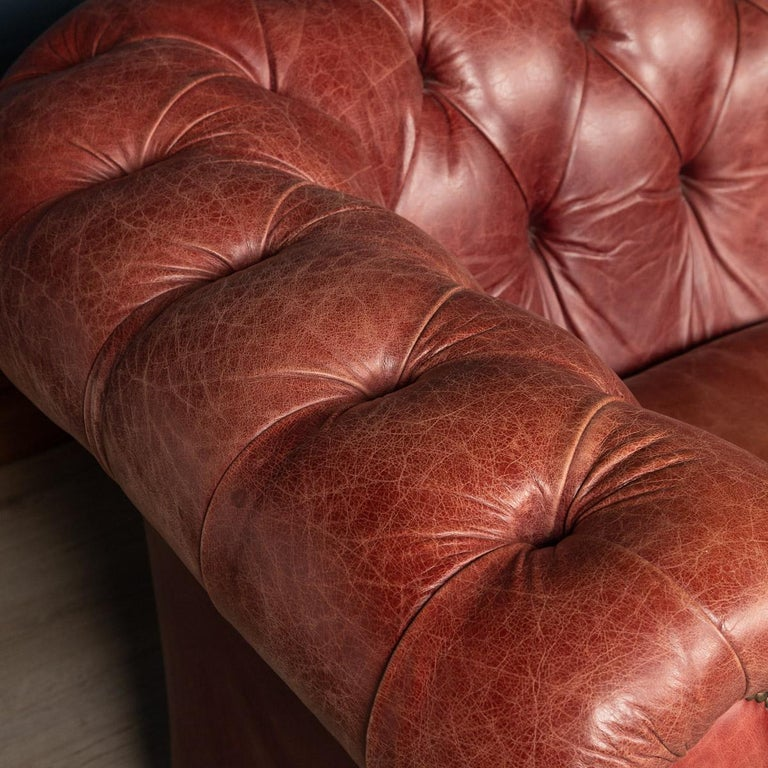 20th Century Chesterfield Leather Sofa With Button Down Seat For Sale 3
