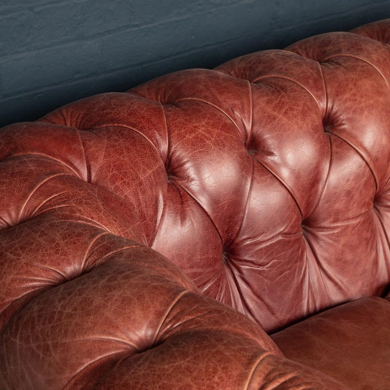 20th Century Chesterfield Leather Sofa With Button Down Seat For Sale 4