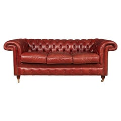 20th Century Chesterfield Three Seater Leather Sofa, c.1980