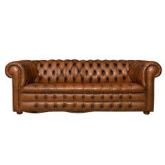 20th Century Chesterfield Three-Seat Leather Sofa With Button Down Seats