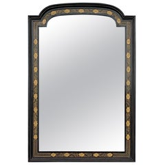 20th Century Chinese Black Lacquer and Hand Painted Mirror