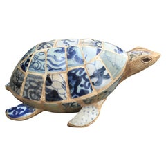 20th Century Chinese Blue and White Porcelain Elements Chardware Turtle