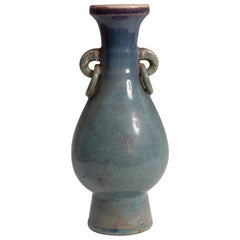 20th Century Chinese Blue Flambe-Glazed Porcelain Enamel Vase
