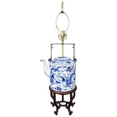 20th Century Chinese Blue & White Porcelain Jumbo Teapot as Lamp