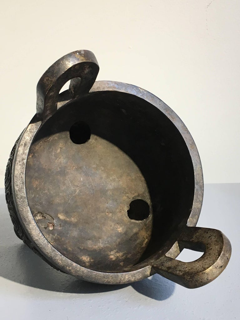 20th Century Chinese Cast Bronze Ding Tripod Censer
