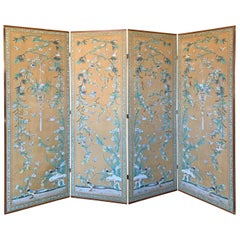20th Century Chinese Chinoiserie Four-Panel Paper Screen