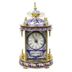 20th Century Chinese Cloisonne French Style Enamel Mantel Clock