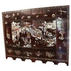 20th Century Chinese Coromandel 6-Panel Folding Screen