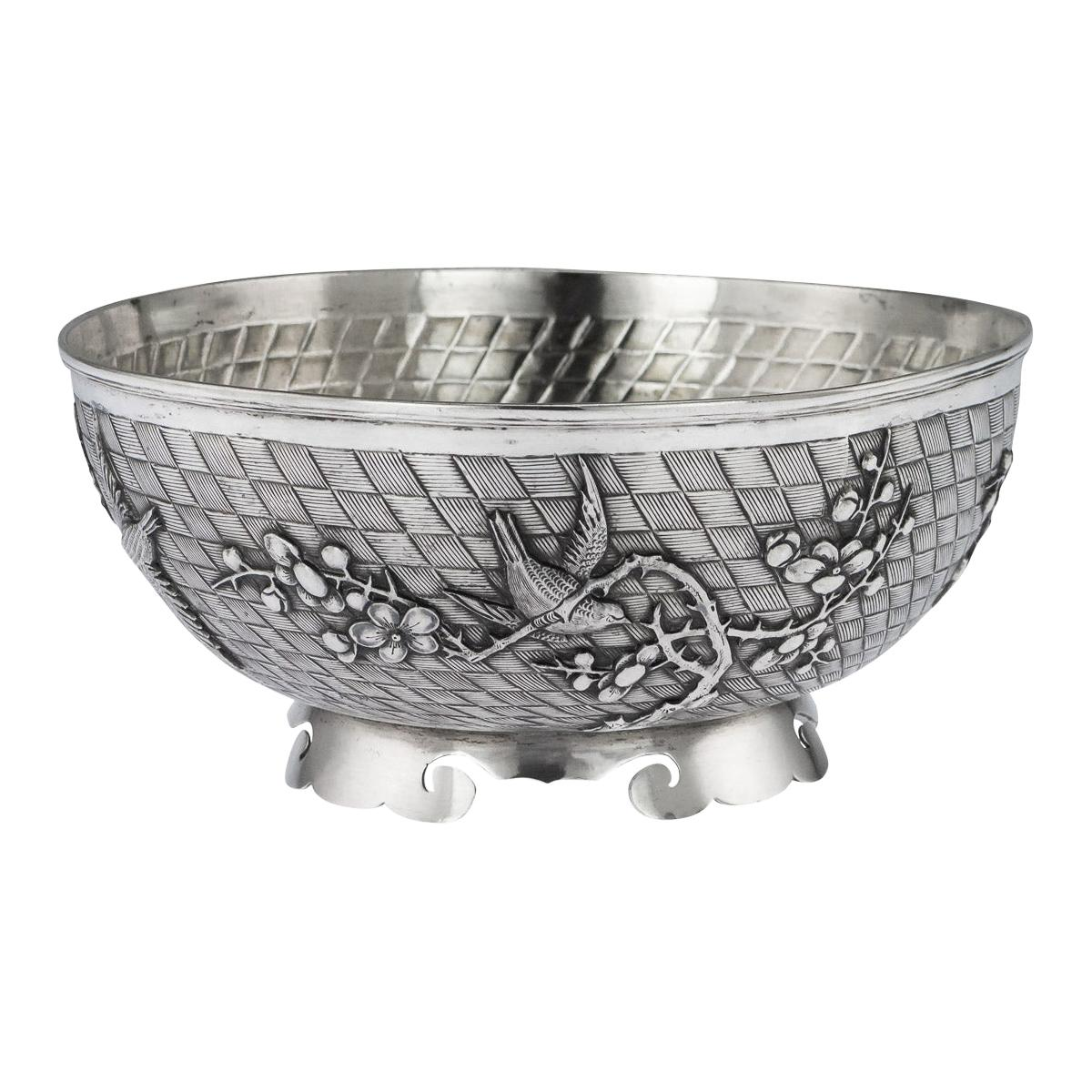 20th Century Chinese Export Solid Silver Bowl by Singfat, circa 1900