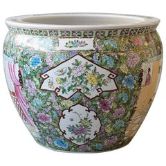 20th Century Chinese Hand-Painted Fish Bowl Planter or Jardiniére