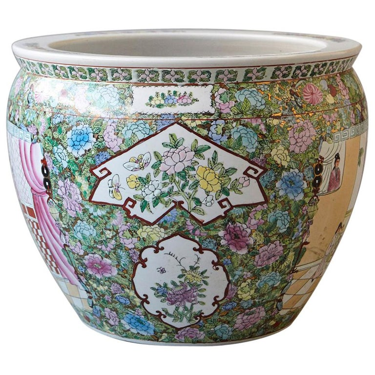 20th Century Chinese Hand Painted Fish Bowl Planter Or Jardiniere