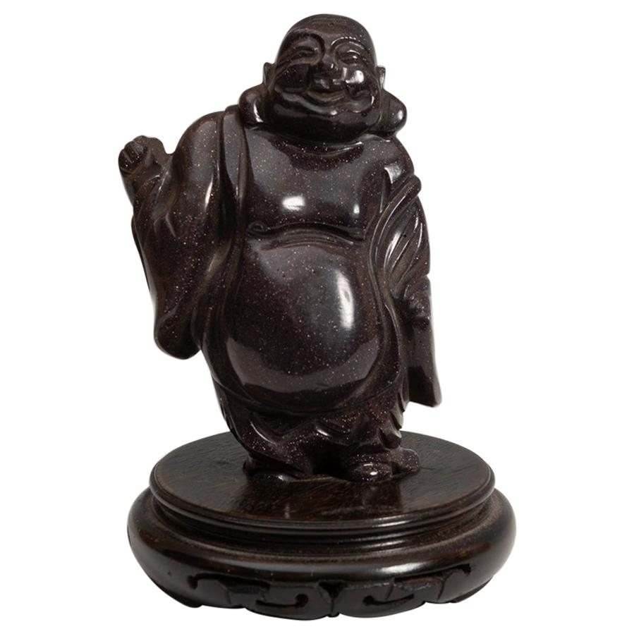 20th Century Chinese Laughing Buddha Hard Stone Figure Sculpture