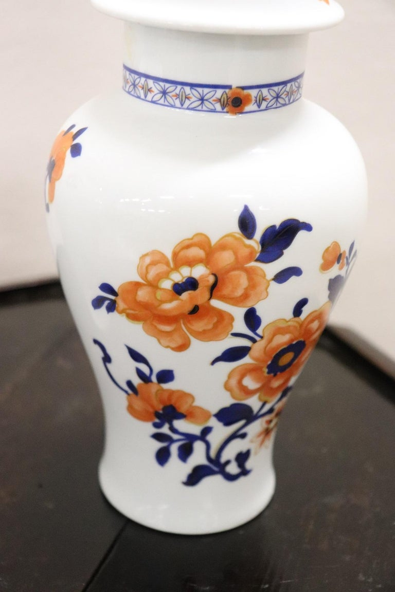 Mid-20th Century 20th Century Chinese Pair of Vase in Porcelain with Floral Motifs For Sale