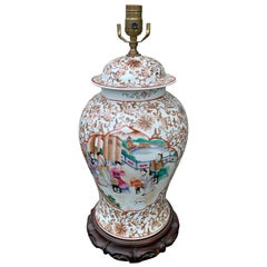 20th Century Chinese Porcelain Lidded Ginger Jar as Lamp