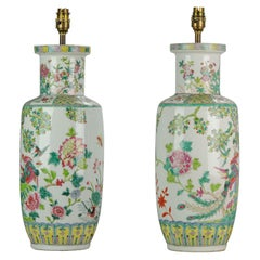 20th Century Chinese Porcelain Vases PRoC Lamp Fenghuang Bird Vases Roses, Pair