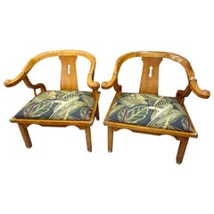 20th Century Chinese School Pair of Amchairs in Fruit Wood and Upholstered