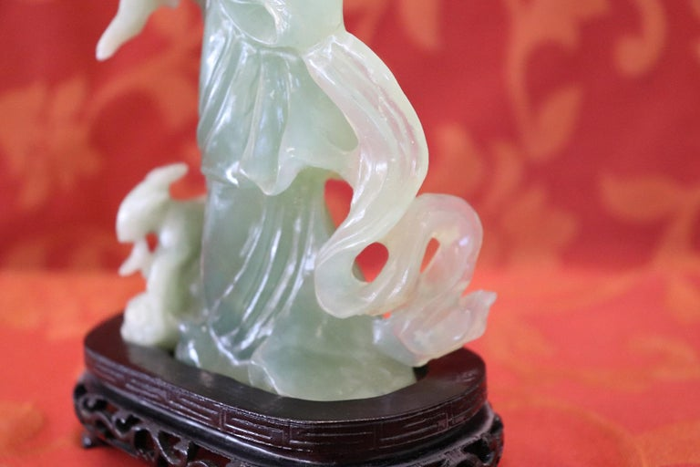20th Century Chinese Sculpture in Jade Geisha Figure, 1930s For Sale 1