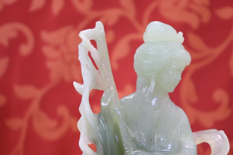 20th Century Chinese Sculpture in Jade Geisha Figure, 1930s For Sale 4