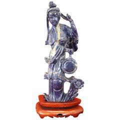 20th Century Chinese Sculpture in Lapis Lazuli Geisha Figure