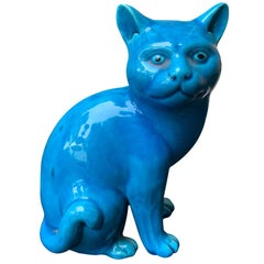 20th Century Chinese Turquoise Porcelain Recumbent Cat, Impressed Character Mark