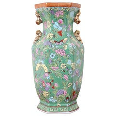 20th Century Chinese Vintage Artistic Vase in Ceramic Green and Floral Motifs