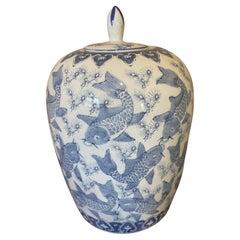 20th Century Chinese White and Blue Ceramic Vase, 1920s