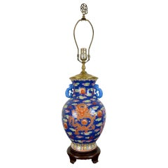 20th Century Chinoiserie Hand Painted Dragon-Motif Table Lamp