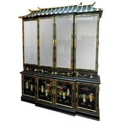 20th Century Chinoiserie Pagoda Glass Front Cabinet Beverly Hills