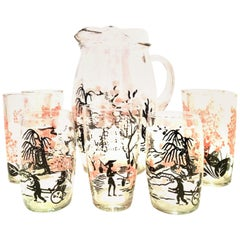 20th Century Chinoiserie Style Printed Glass Drinks Set of 8