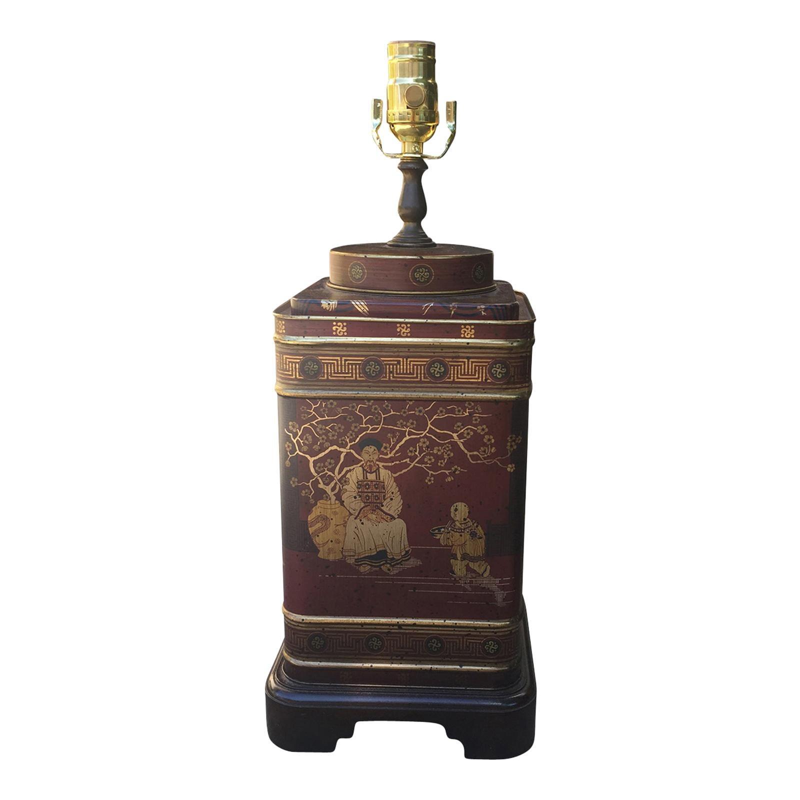 20th Century Chinoiserie Tole Tea Tin Lamp