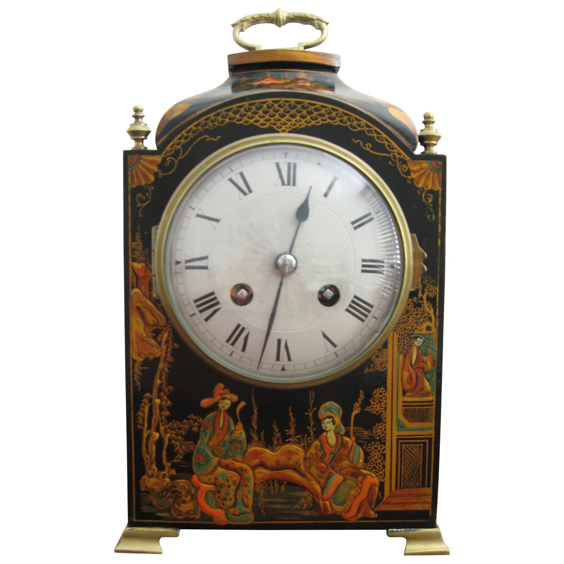 20th Century Chinoiserie Two Train Mantel Clock with French Movement Wood Brass