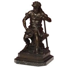 20th Century Chiseled Bronze Marble Base Italian Signed Blacksmith Sculpture