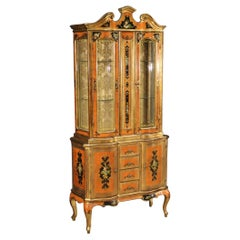 20th Century Chiseled, Lacquered, Gilded and Painted Wood Tuscan Showcase, 1960
