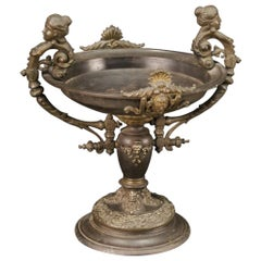 20th Century Chiseled Metal French Cup with Figures, Cherubs, Masks, 1960